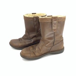 Ugg Womens Pull On Leather Boots Sheepskin Lining